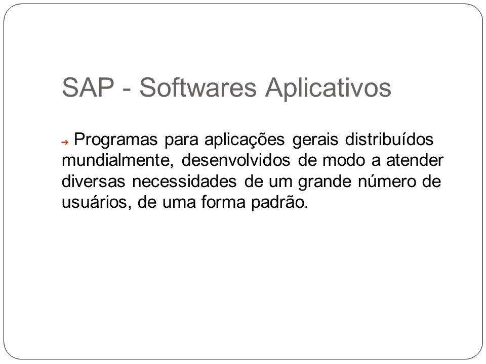 SAP - Softwares Aplicativos Programas para aplicações gerais distribuídos mundialmente, desenvolvidos de modo a atender diversas necessidades de um gr