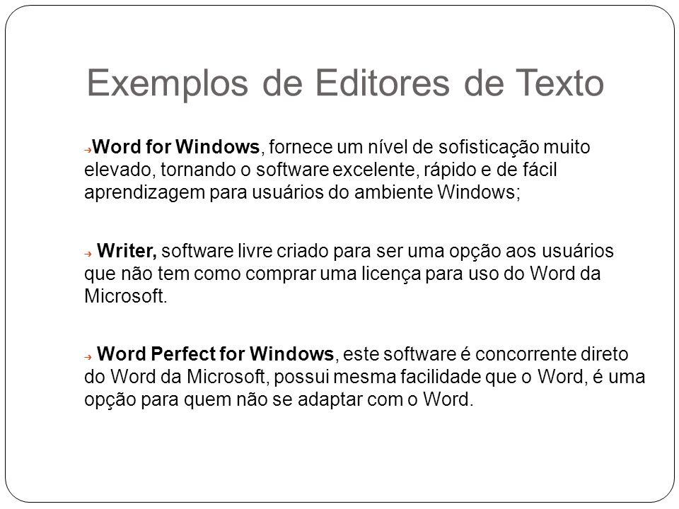 Exemplos de Editores de Texto Word for Windows, fornece um nível de sofisticação muito elevado, tornando o software excelente, rápido e de fácil apren