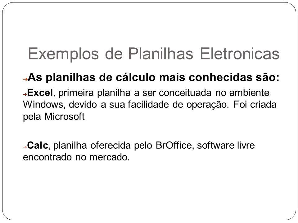 Exemplos de Planilhas Eletronicas As planilhas de cálculo mais conhecidas são: Excel, primeira planilha a ser conceituada no ambiente Windows, devido