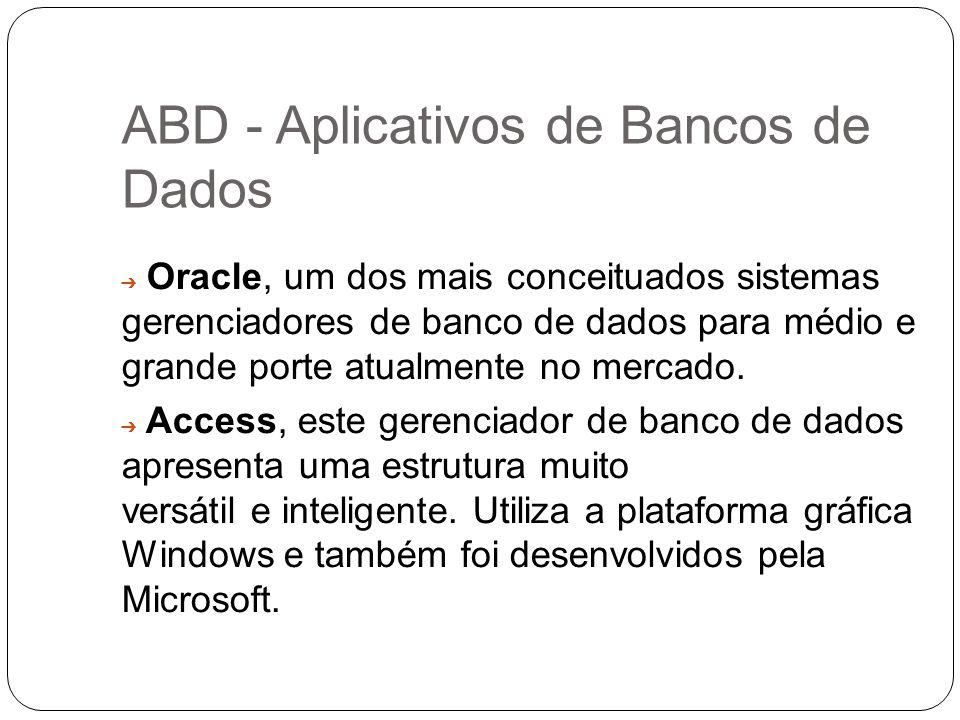 ABD - Aplicativos de Bancos de Dados Oracle, um dos mais conceituados sistemas gerenciadores de banco de dados para médio e grande porte atualmente no
