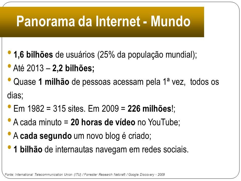 Panorama da Internet - Mundo 1,6 bilhões de usuários (25% da população mundial); Até 2013 – 2,2 bilhões; Quase 1 milhão de pessoas acessam pela 1ª vez