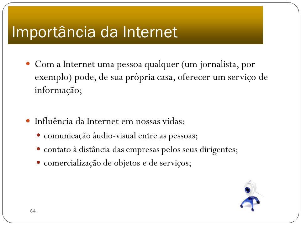 64 Com a Internet uma pessoa qualquer (um jornalista, por exemplo) pode, de sua própria casa, oferecer um serviço de informação; Influência da Interne
