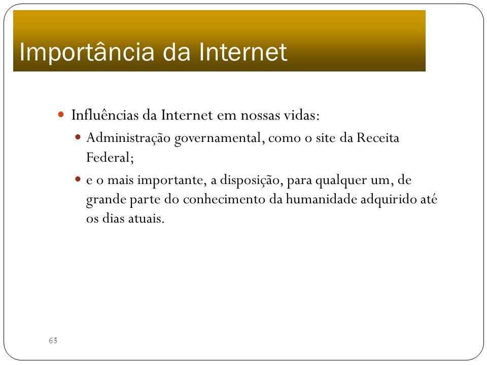 65 Importância da Internet Influências da Internet em nossas vidas: Administração governamental, como o site da Receita Federal; e o mais importante,