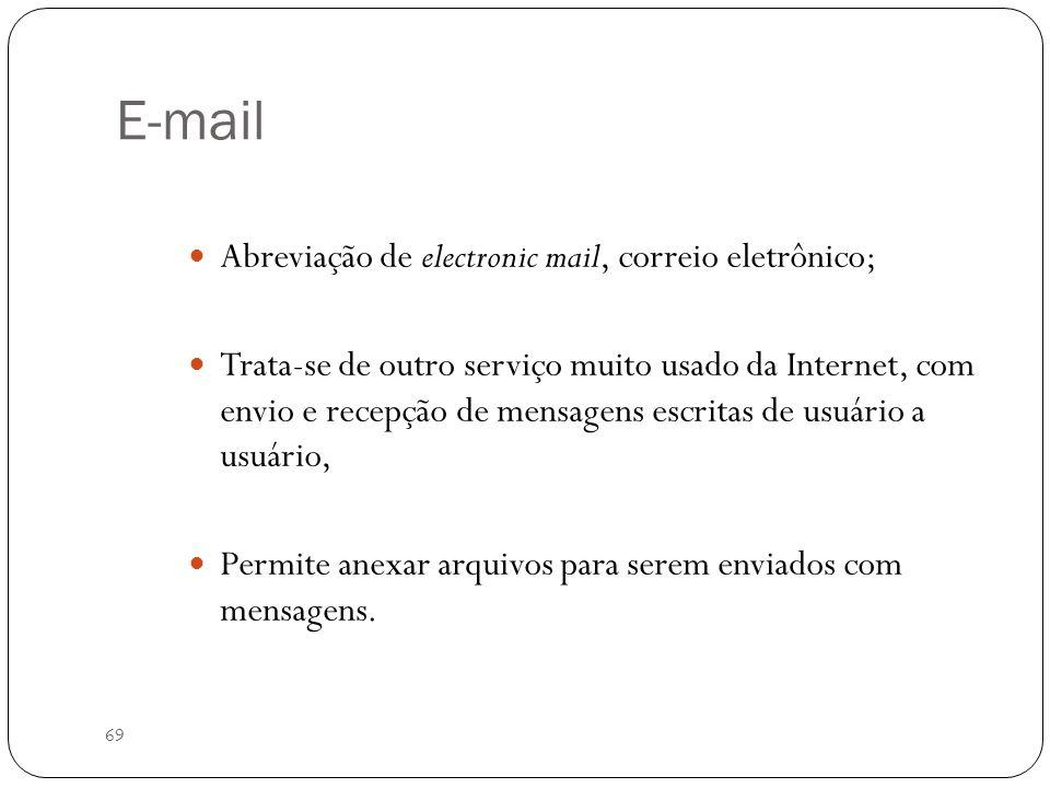 69 E-mail Abreviação de electronic mail, correio eletrônico; Trata-se de outro serviço muito usado da Internet, com envio e recepção de mensagens escr