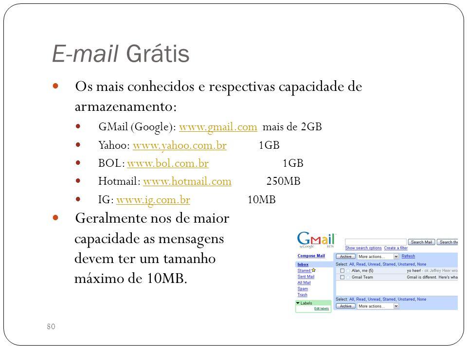 80 E-mail Grátis Os mais conhecidos e respectivas capacidade de armazenamento: GMail (Google): www.gmail.com mais de 2GBwww.gmail.com Yahoo: www.yahoo