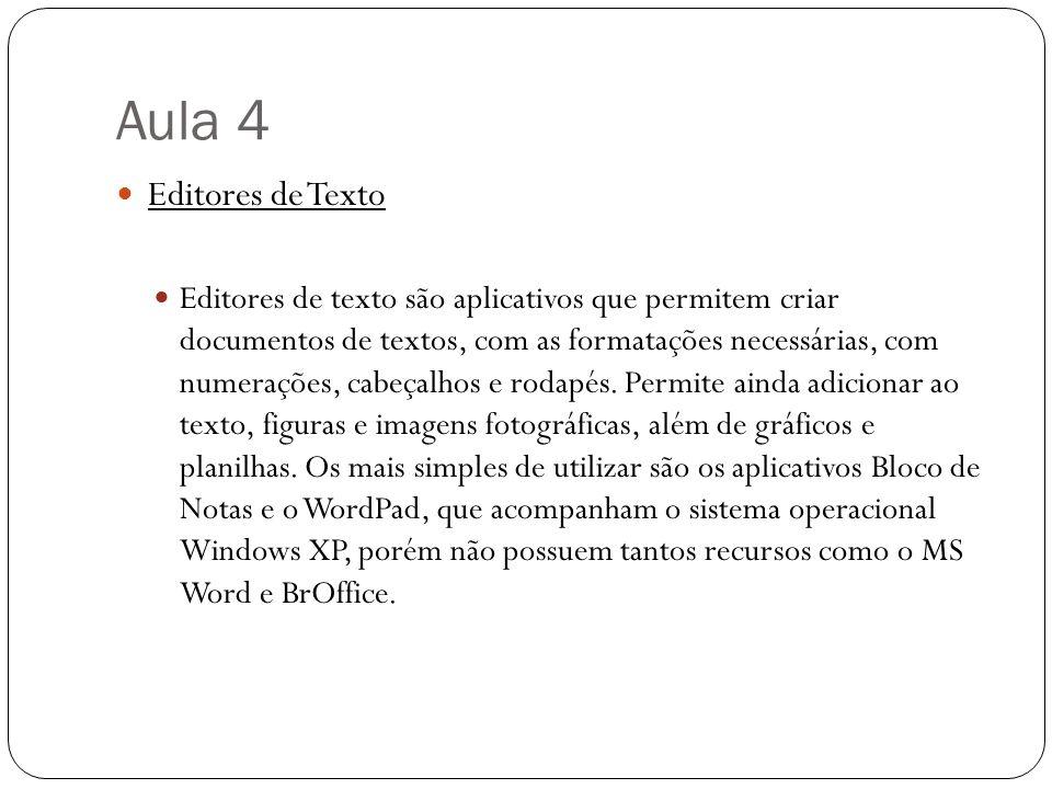 Aula 4 Editores de Texto Editores de texto são aplicativos que permitem criar documentos de textos, com as formatações necessárias, com numerações, ca