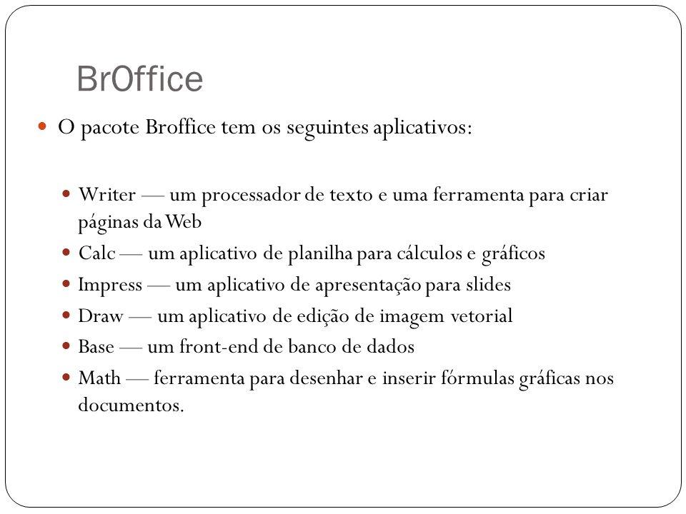 BrOffice O pacote Broffice tem os seguintes aplicativos: Writer um processador de texto e uma ferramenta para criar páginas da Web Calc um aplicativo
