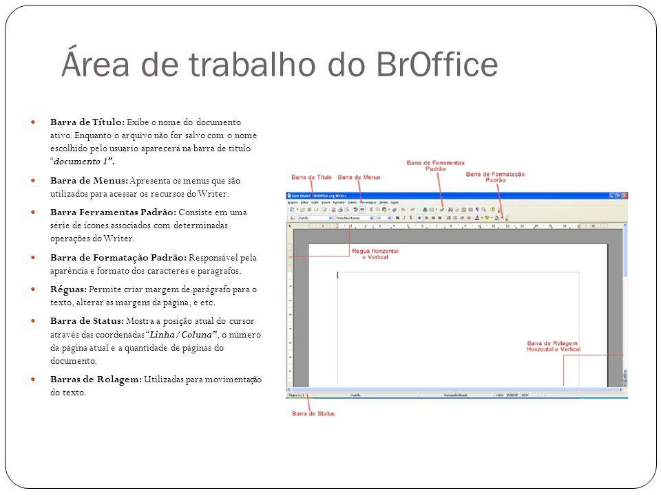 Área de trabalho do BrOffice Barra de Título: Exibe o nome do documento ativo. Enquanto o arquivo não for salvo com o nome escolhido pelo usuário apar