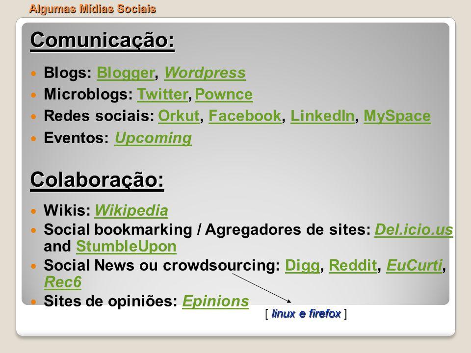 Algumas Mídias Sociais Comunicação: Blogs: Blogger, WordpressBloggerWordpress Microblogs: Twitter, PownceTwitterPownce Redes sociais: Orkut, Facebook,