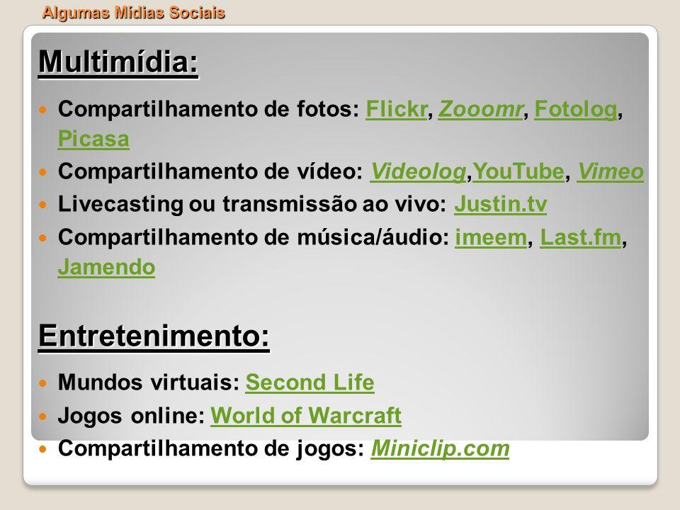 Multimídia: Compartilhamento de fotos: Flickr, Zooomr, Fotolog, PicasaFlickrZooomrFotolog Picasa Compartilhamento de vídeo: Videolog,YouTube, VimeoVid