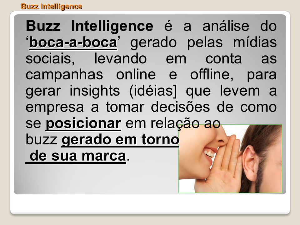 boca-a-boca posicionar Buzz Intelligence é a análise doboca-a-boca gerado pelas mídias sociais, levando em conta as campanhas online e offline, para g