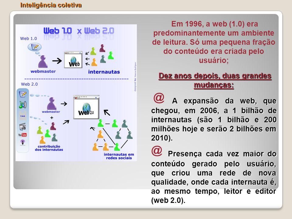 Em 1996, a web (1.0) era predominantemente um ambiente de leitura. Só uma pequena fração do conteúdo era criada pelo usuário; Dez anos depois, duas gr
