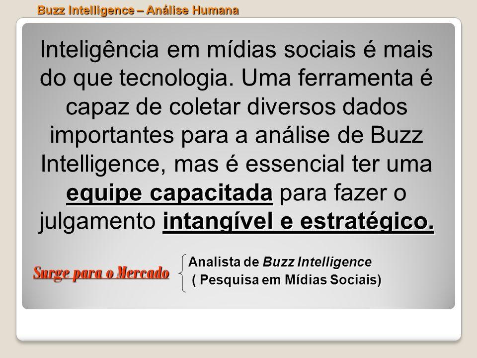 Buzz Intelligence – Análise Humana equipe capacitada intangível e estratégico. Inteligência em mídias sociais é mais do que tecnologia. Uma ferramenta