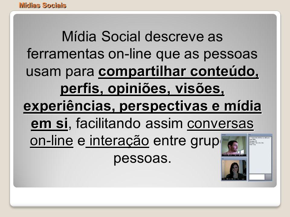 compartilhar conteúdo, perfis, opiniões, visões, experiências, perspectivas e mídia em siconversas on-line interação Mídia Social descreve as ferramen