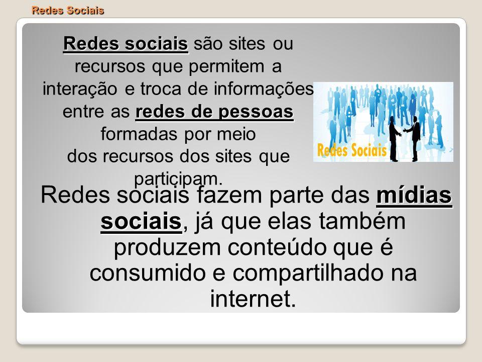 Redes Sociais mídias sociais Redes sociais fazem parte das mídias sociais, já que elas também produzem conteúdo que é consumido e compartilhado na int