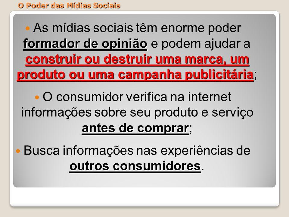 O Poder das Mídias Sociais formador de opinião construir ou destruir uma marca, um produto ou uma campanha publicitária As mídias sociais têm enorme p
