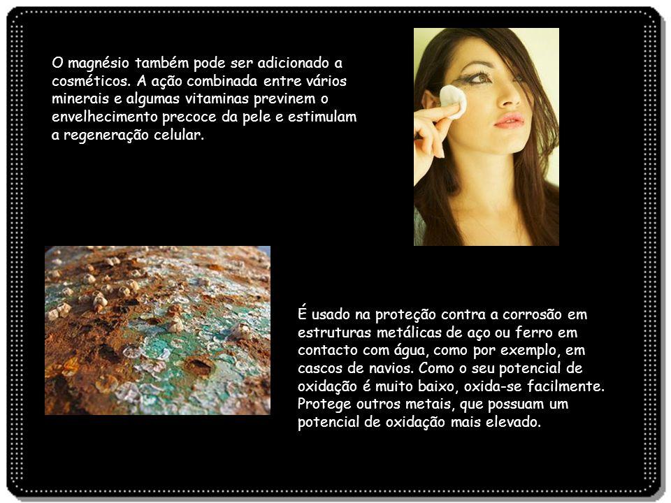 O magnésio também pode ser adicionado a cosméticos. A ação combinada entre vários minerais e algumas vitaminas previnem o envelhecimento precoce da pe
