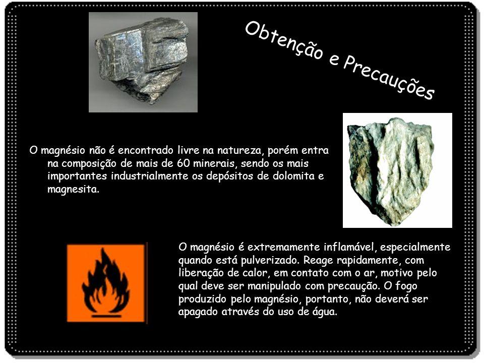 Obtenção e Precauções O magnésio não é encontrado livre na natureza, porém entra na composição de mais de 60 minerais, sendo os mais importantes indus