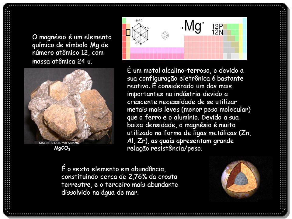 O magnésio é um elemento químico de símbolo Mg de número atômico 12, com massa atômica 24 u. É um metal alcalino-terroso, e devido a sua configuração