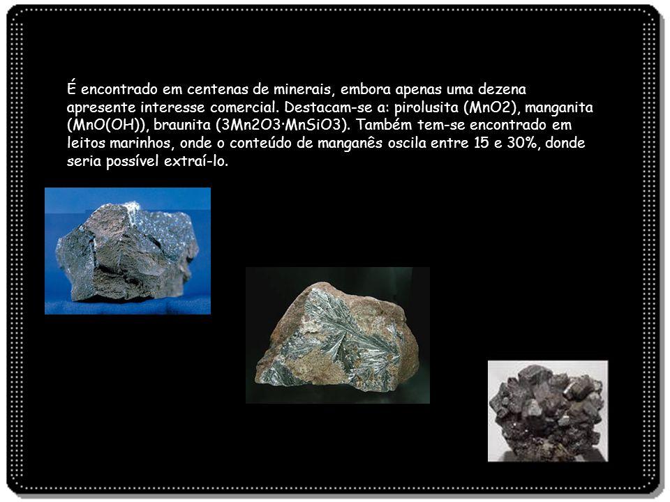 É encontrado em centenas de minerais, embora apenas uma dezena apresente interesse comercial. Destacam-se a: pirolusita (MnO2), manganita (MnO(OH)), b