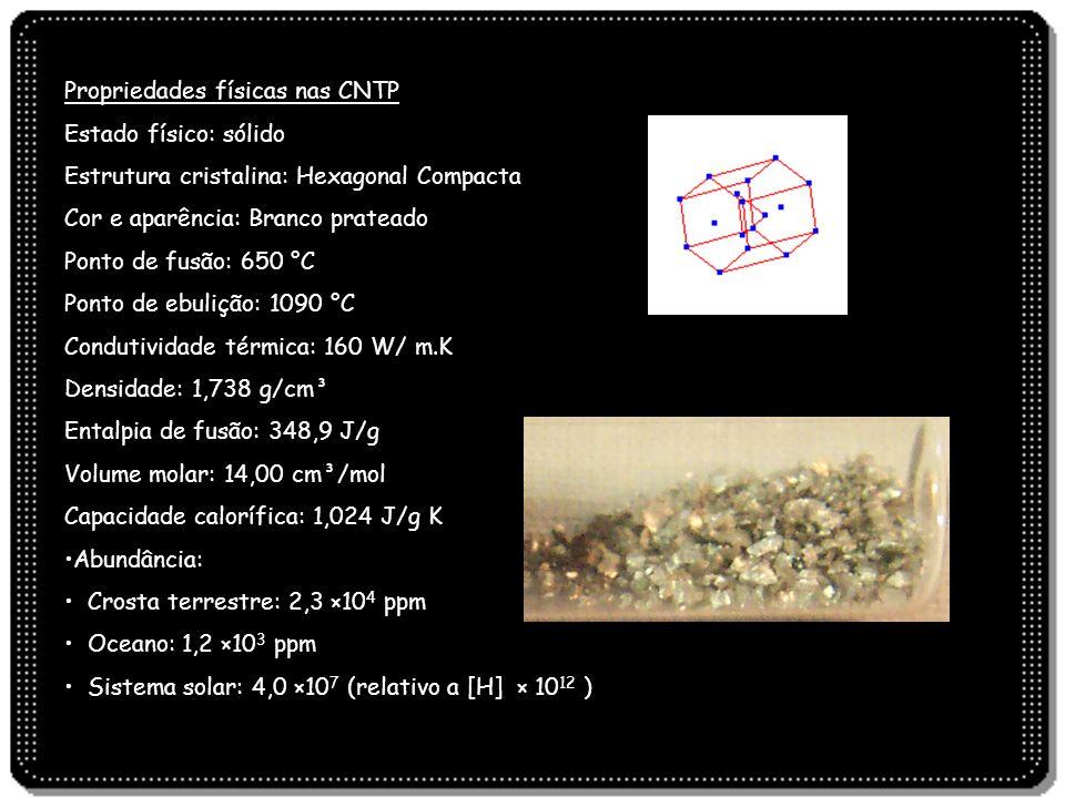Propriedades físicas nas CNTP Estado físico: sólido Estrutura cristalina: Hexagonal Compacta Cor e aparência: Branco prateado Ponto de fusão: 650 °C P
