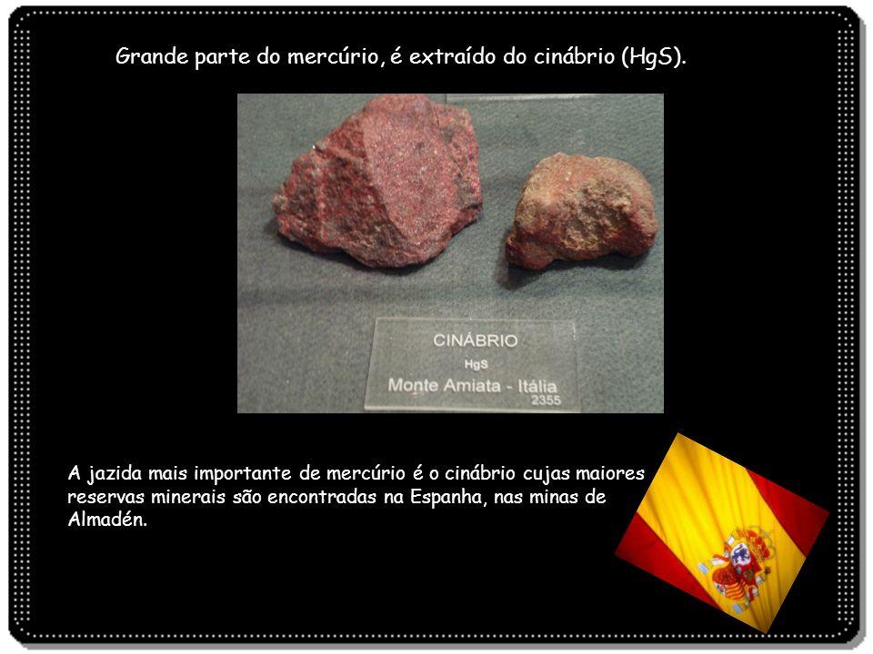 A jazida mais importante de mercúrio é o cinábrio cujas maiores reservas minerais são encontradas na Espanha, nas minas de Almadén. Grande parte do me