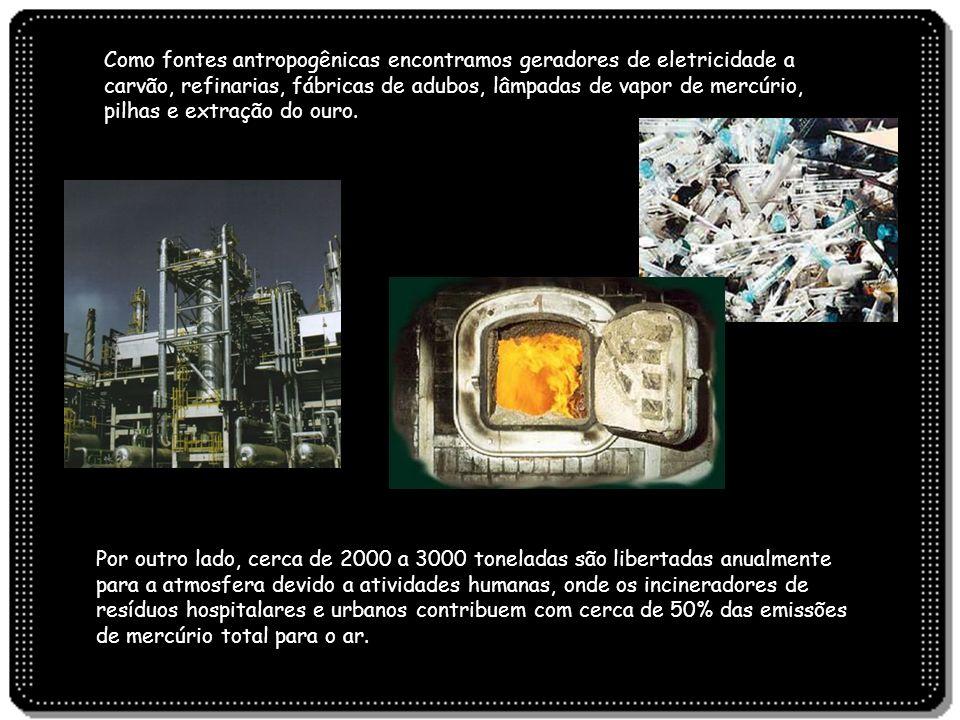 Por outro lado, cerca de 2000 a 3000 toneladas são libertadas anualmente para a atmosfera devido a atividades humanas, onde os incineradores de resídu