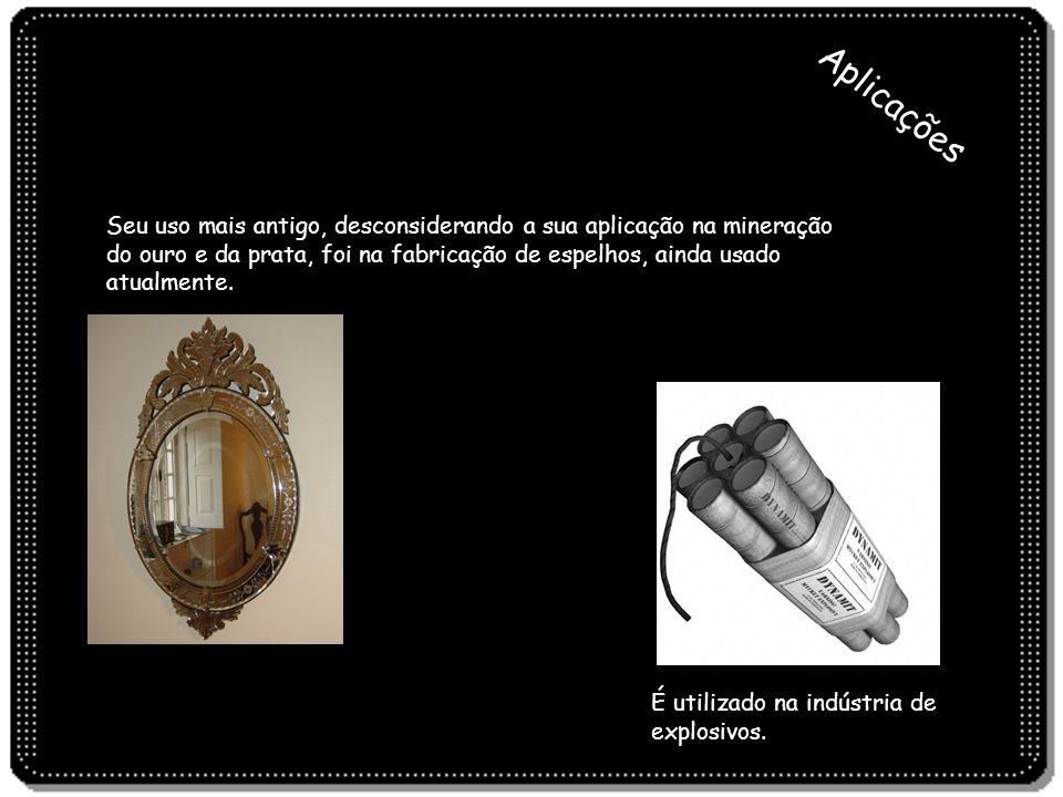 Seu uso mais antigo, desconsiderando a sua aplicação na mineração do ouro e da prata, foi na fabricação de espelhos, ainda usado atualmente. Aplicaçõe