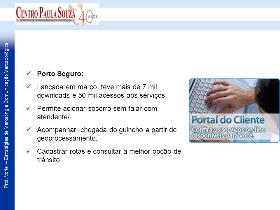 Prof. Vorlei – Estratégias de Marketing e Comunicação Mercadológica Porto Seguro: Lançada em março, teve mais de 7 mil downloads e 50 mil acessos aos