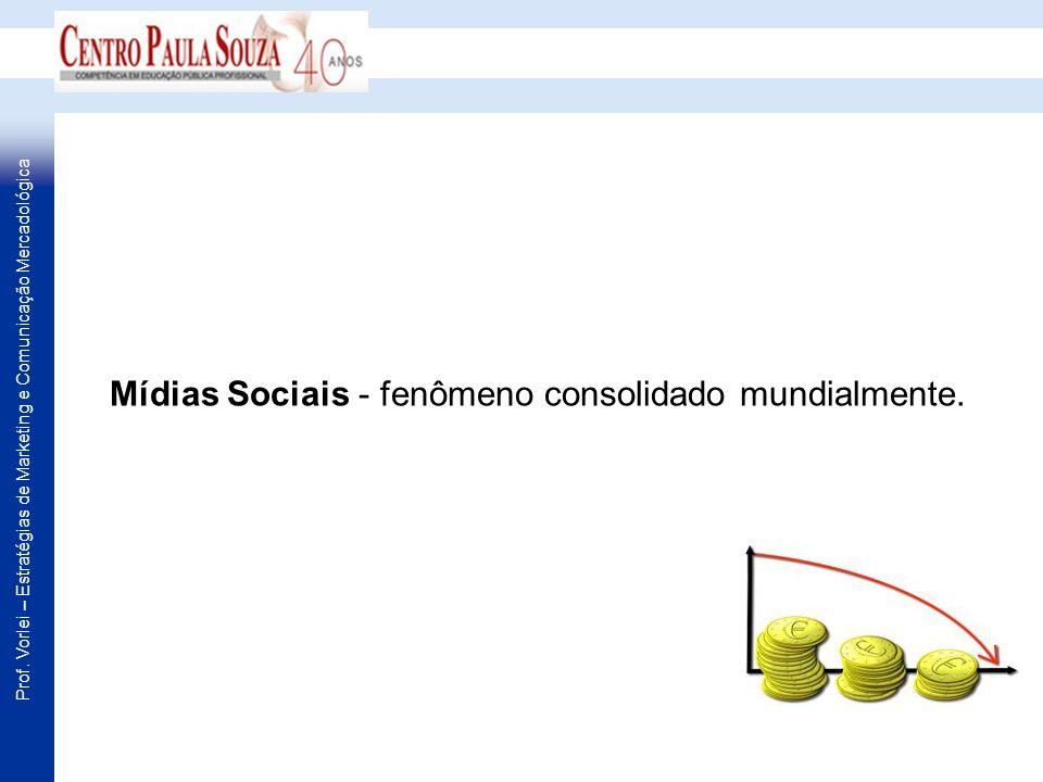Prof. Vorlei – Estratégias de Marketing e Comunicação Mercadológica Mídias Sociais - fenômeno consolidado mundialmente.