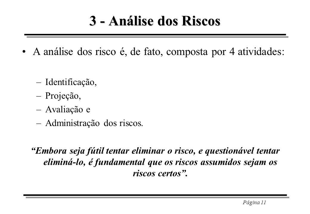 Página 11 3 - Análise dos Riscos A análise dos risco é, de fato, composta por 4 atividades: –Identificação, –Projeção, –Avaliação e –Administração dos