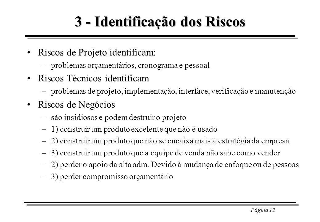 Página 12 3 - Identificação dos Riscos Riscos de Projeto identificam: –problemas orçamentários, cronograma e pessoal Riscos Técnicos identificam –prob