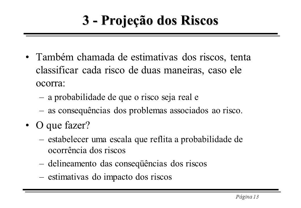 Página 13 3 - Projeção dos Riscos Também chamada de estimativas dos riscos, tenta classificar cada risco de duas maneiras, caso ele ocorra: –a probabi