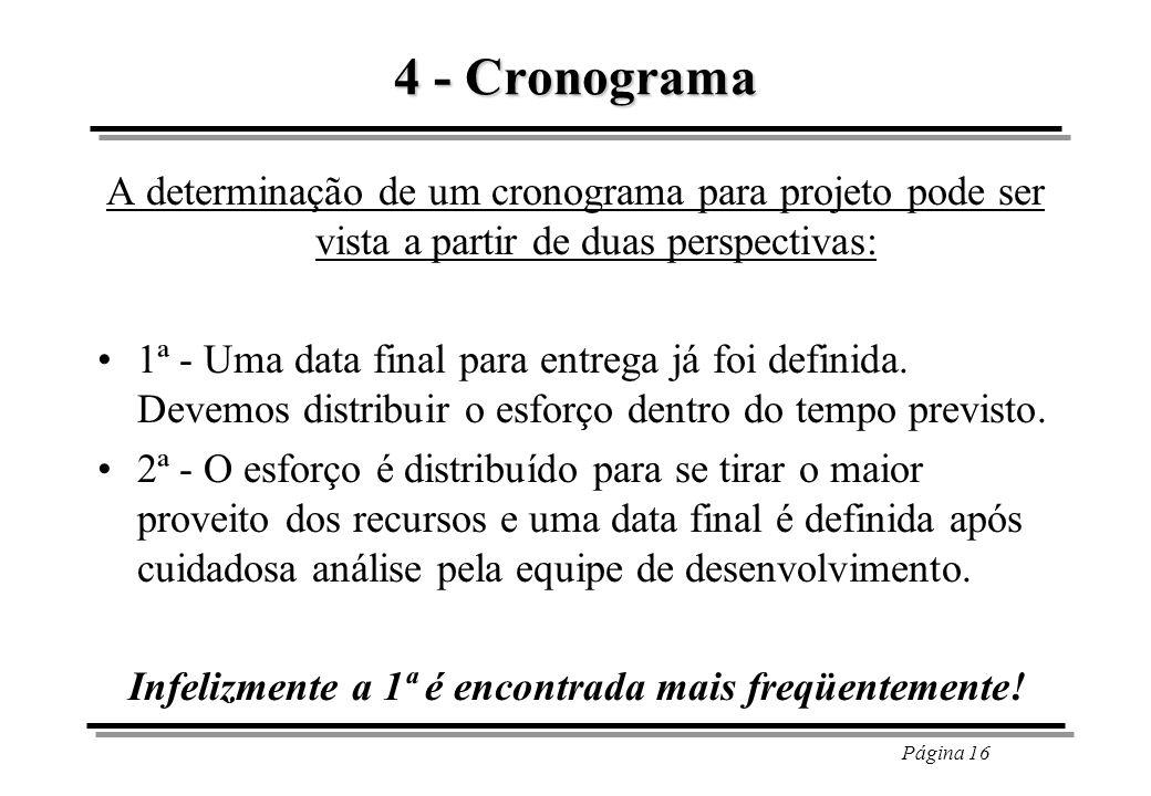Página 16 4 - Cronograma A determinação de um cronograma para projeto pode ser vista a partir de duas perspectivas: 1ª - Uma data final para entrega j