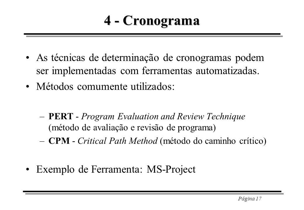 Página 17 4 - Cronograma As técnicas de determinação de cronogramas podem ser implementadas com ferramentas automatizadas. Métodos comumente utilizado