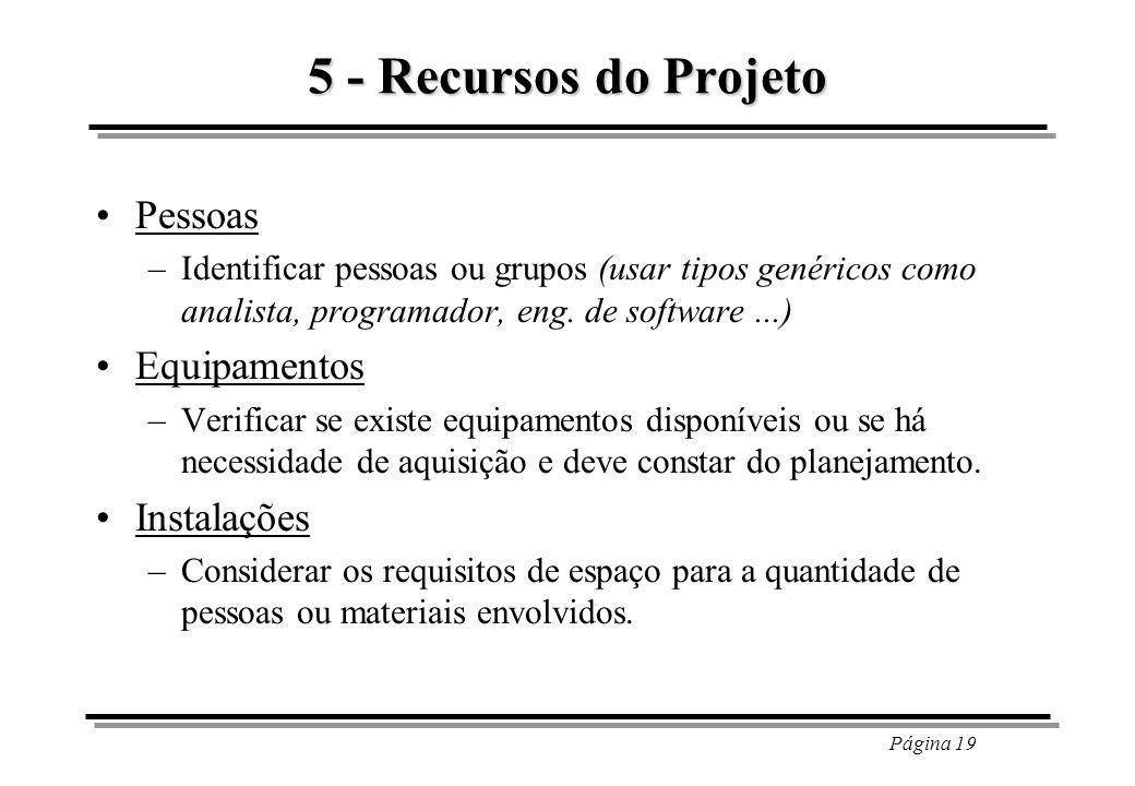Página 19 5 - Recursos do Projeto Pessoas –Identificar pessoas ou grupos (usar tipos genéricos como analista, programador, eng. de software...) Equipa