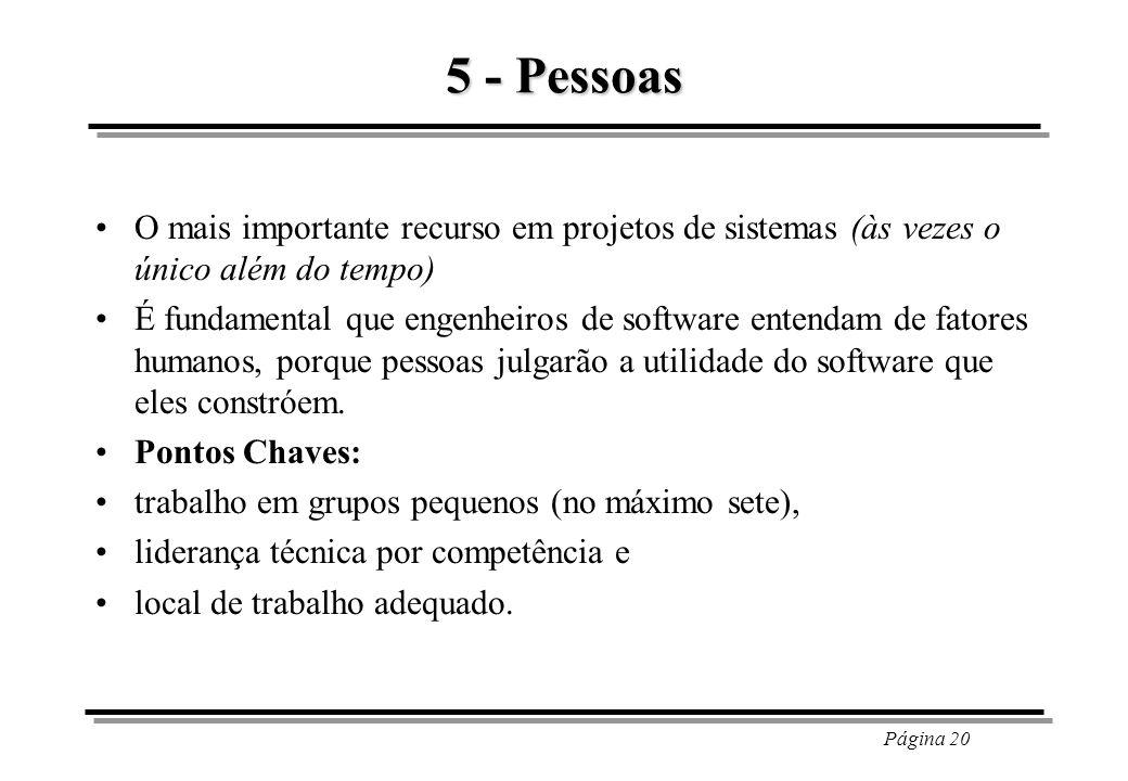 Página 20 5 - Pessoas O mais importante recurso em projetos de sistemas (às vezes o único além do tempo) É fundamental que engenheiros de software ent
