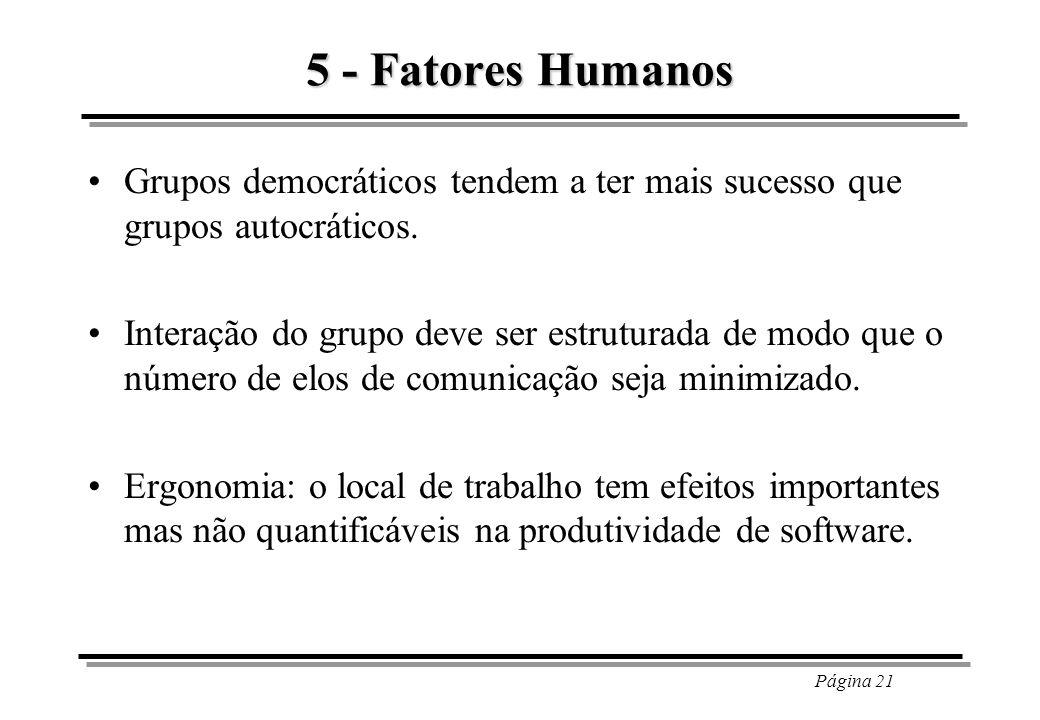 Página 21 5 - Fatores Humanos Grupos democráticos tendem a ter mais sucesso que grupos autocráticos. Interação do grupo deve ser estruturada de modo q