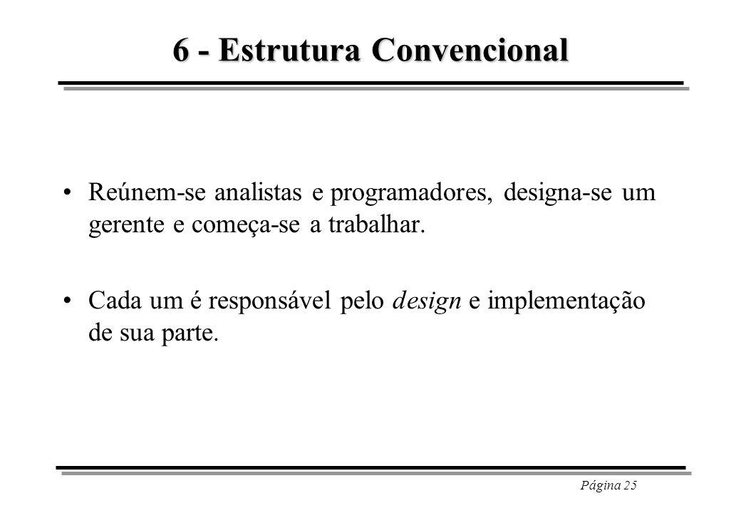 Página 25 6 - Estrutura Convencional Reúnem-se analistas e programadores, designa-se um gerente e começa-se a trabalhar. Cada um é responsável pelo de