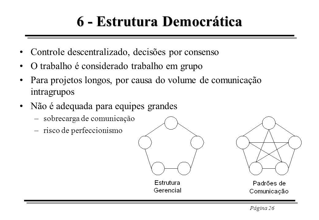 Página 26 6 - Estrutura Democrática Controle descentralizado, decisões por consenso O trabalho é considerado trabalho em grupo Para projetos longos, p