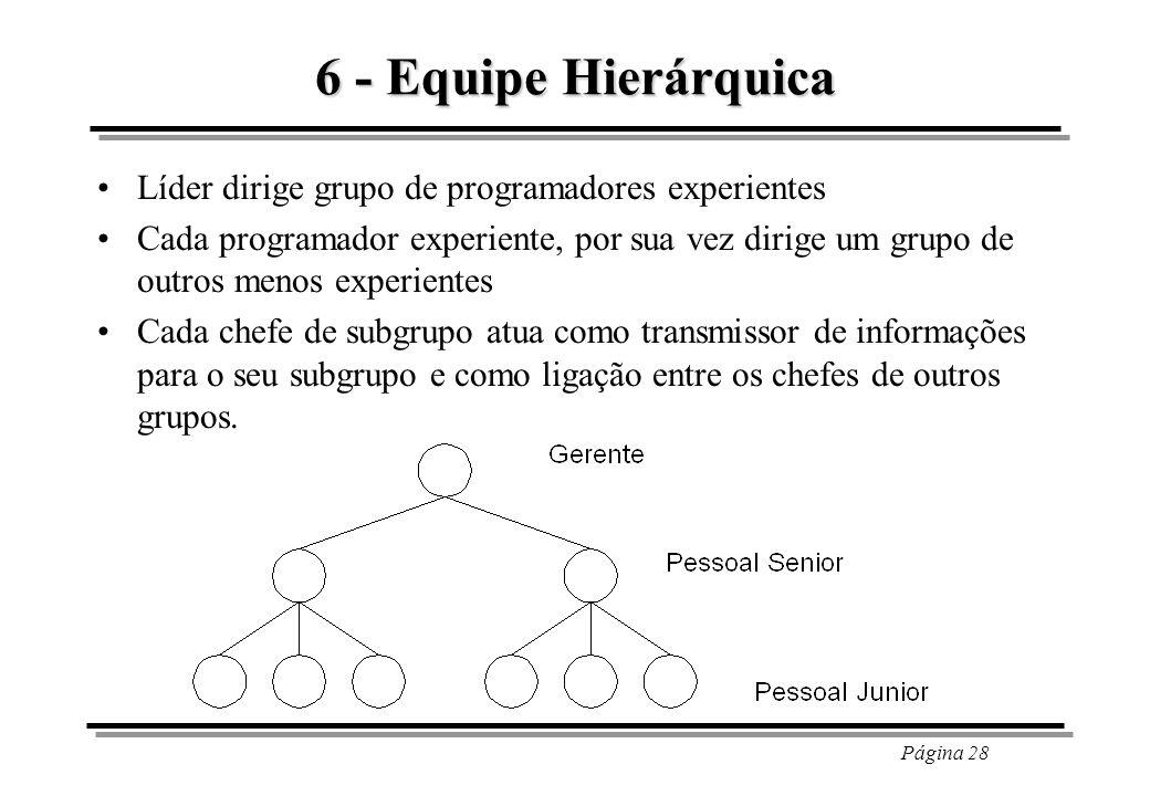 Página 28 6 - Equipe Hierárquica Líder dirige grupo de programadores experientes Cada programador experiente, por sua vez dirige um grupo de outros me
