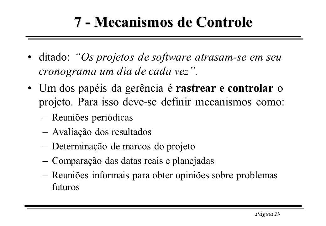 Página 29 7 - Mecanismos de Controle ditado: Os projetos de software atrasam-se em seu cronograma um dia de cada vez. Um dos papéis da gerência é rast