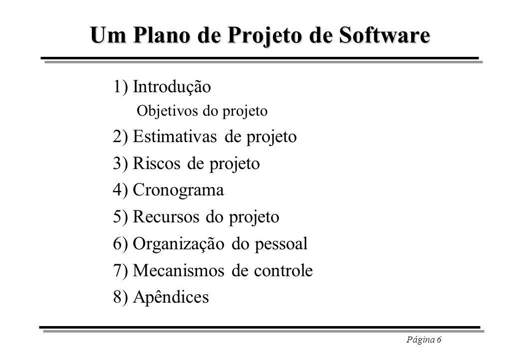 Página 6 Um Plano de Projeto de Software 1) Introdução Objetivos do projeto 2) Estimativas de projeto 3) Riscos de projeto 4) Cronograma 5) Recursos d