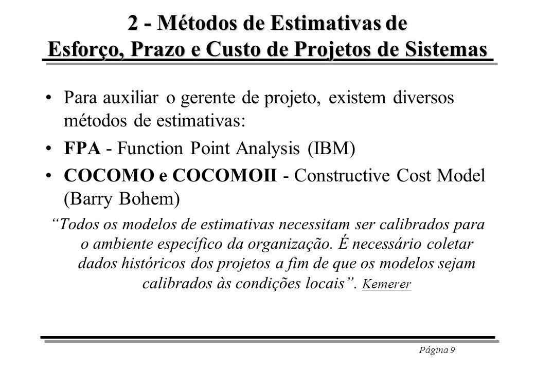 Página 9 2 - Métodos de Estimativas de Esforço, Prazo e Custo de Projetos de Sistemas Para auxiliar o gerente de projeto, existem diversos métodos de