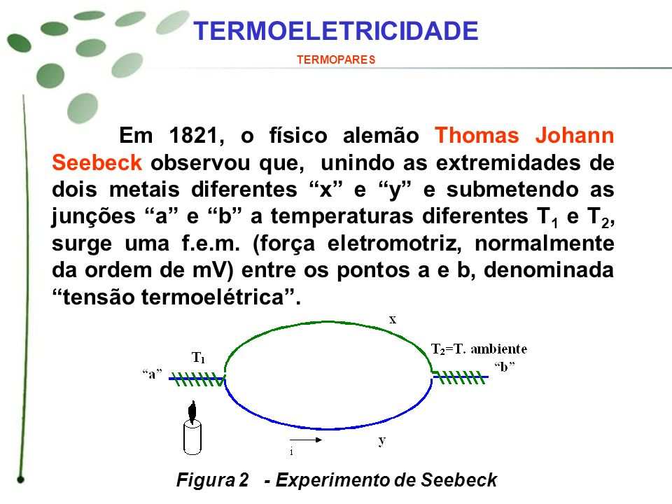 TERMOELETRICIDADE TERMOPARES Este fenômeno é conhecido por Efeito Seebeck .