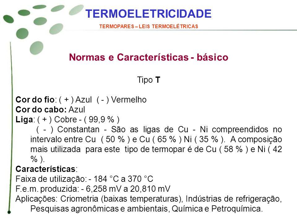 TERMOELETRICIDADE TERMOPARES – LEIS TERMOELÉTRICAS Normas e Características - básico Tipo T Cor do fio: ( + ) Azul ( - ) Vermelho Cor do cabo: Azul Li