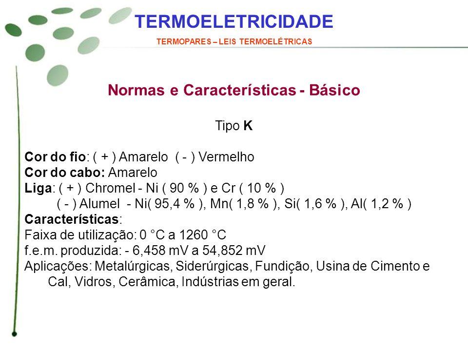 TERMOELETRICIDADE TERMOPARES – LEIS TERMOELÉTRICAS Normas e Características - Básico Tipo K Cor do fio: ( + ) Amarelo ( - ) Vermelho Cor do cabo: Amar