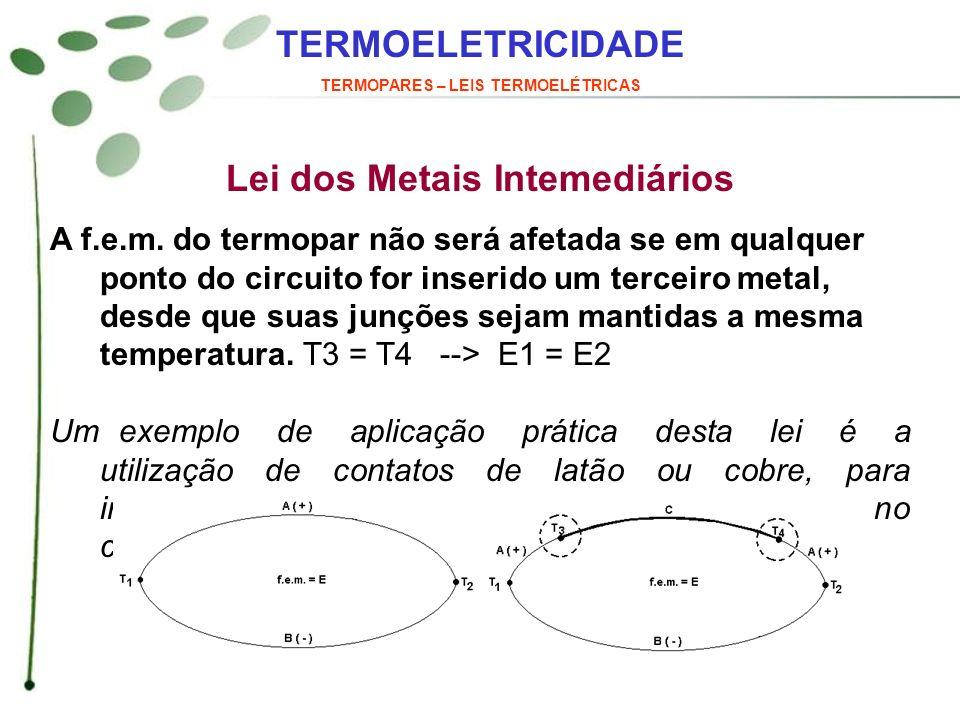 TERMOELETRICIDADE TERMOPARES – LEIS TERMOELÉTRICAS Normas e Características – Termopares Nobres Tipo S Cor do fio: ( + ) Preto ( - ) Vermelho Cor do cabo: Verde Liga: ( + ) Platina 90% Rhodio 10 % ( - ) Platina 100 % Características: Faixa de utilização: 0 °C a 1480 °C F.e.m.