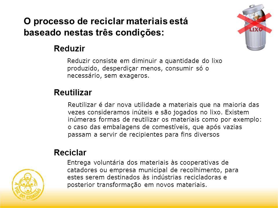 O processo de reciclar materiais está baseado nestas três condições: Reduzir Reduzir consiste em diminuir a quantidade do lixo produzido, desperdiçar