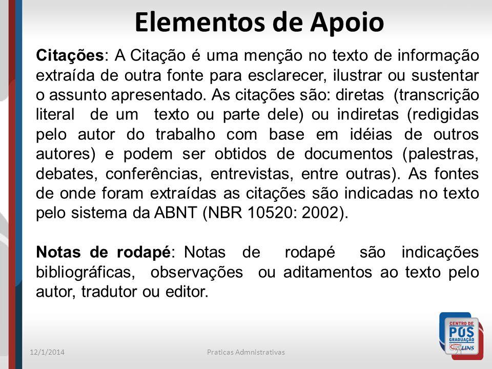 12/1/2014Praticas Admnistrativas21 Elementos de Apoio Citações: A Citação é uma menção no texto de informação extraída de outra fonte para esclarecer,